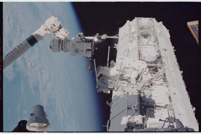 STS113-344-017 - STS-113 - STS-113 EVA 2 transfer / relocation of CETA cart to S1 truss
