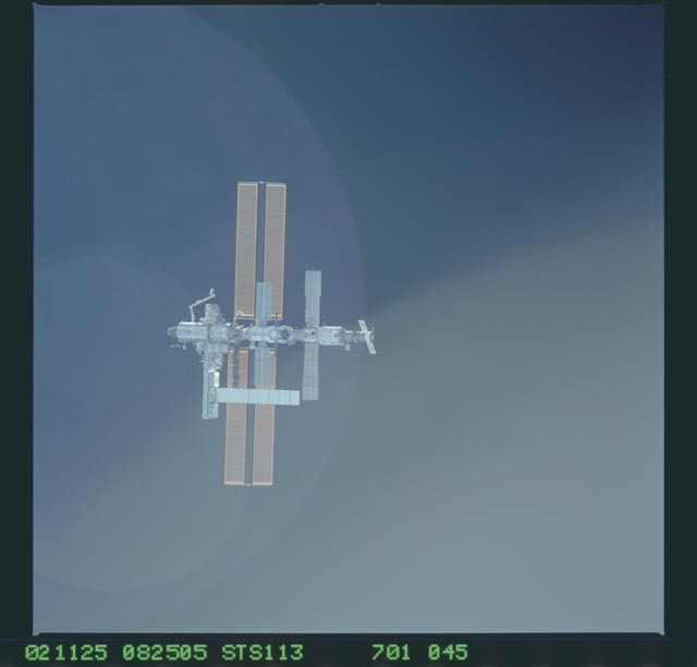 STS113-701-045 - STS-113 - Zenith views of the ISS taken during STS-113 approach for docking