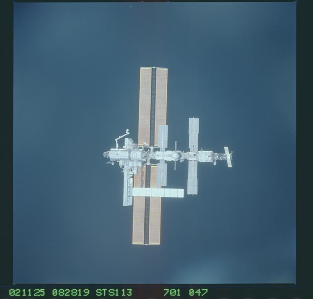 STS113-701-047 - STS-113 - Zenith views of the ISS taken during STS-113 approach for docking