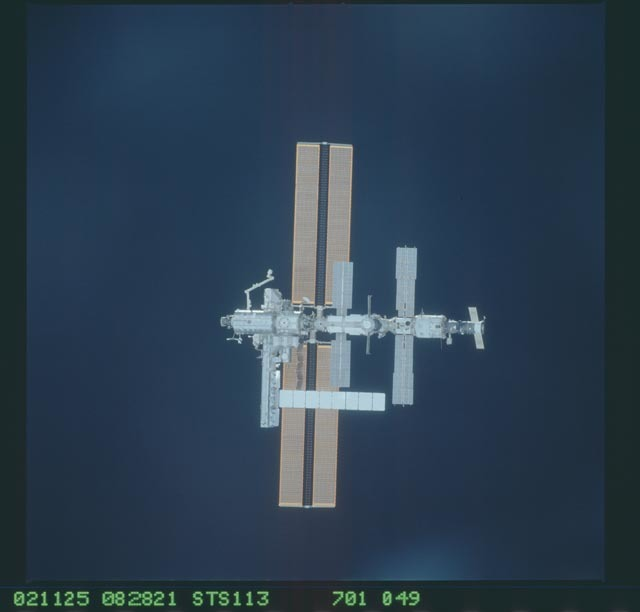 STS113-701-049 - STS-113 - Zenith views of the ISS taken during STS-113 approach for docking