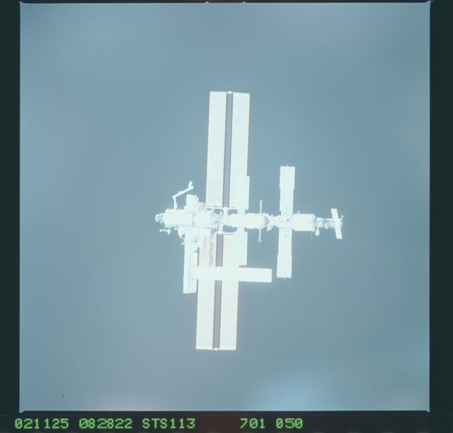 STS113-701-050 - STS-113 - Zenith views of the ISS taken during STS-113 approach for docking