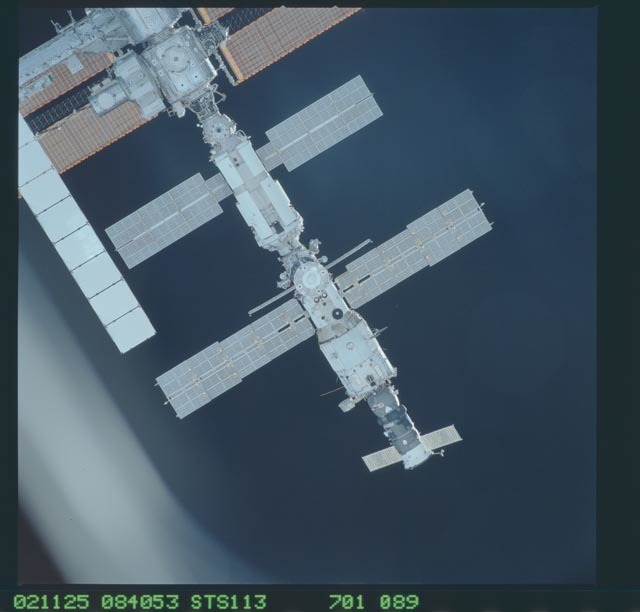 STS113-701-089 - STS-113 - Zenith views of the ISS taken during STS-113 approach for docking