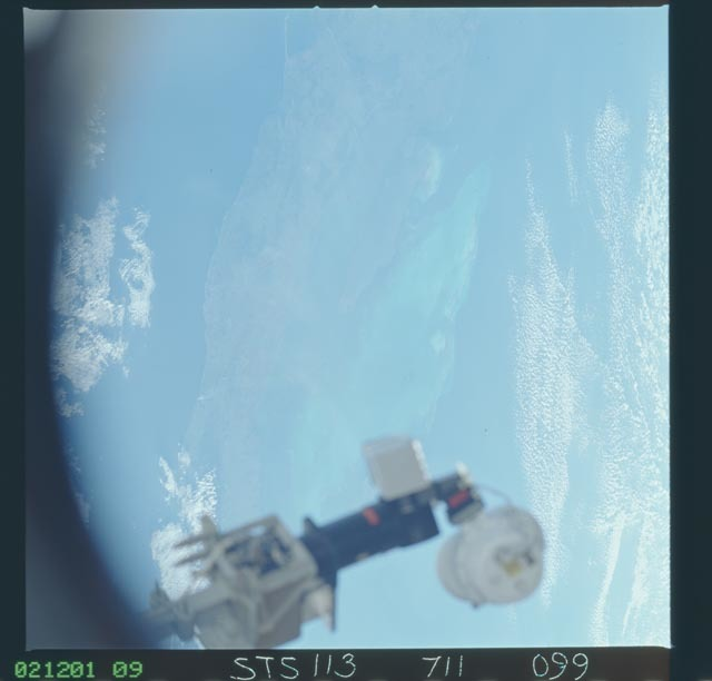 STS113-711-099 - STS-113 - Partial view of an antenna on the ISS taken during STS-113