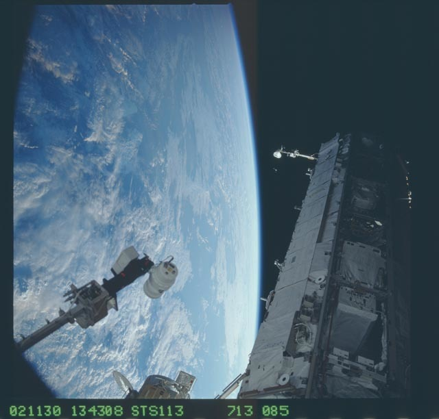 STS113-713-085 - STS-113 - Dark views of the S1 truss taken during STS-113