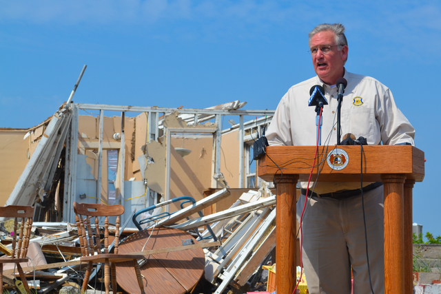 Tornado - Joplin, Mo. , August 4, 2011 -- Governor Jay Nixon holds a news conference about expedited debris removal. FEMA is in the city to provide assistance to the disaster survivors. Elissa Jun/FEMA