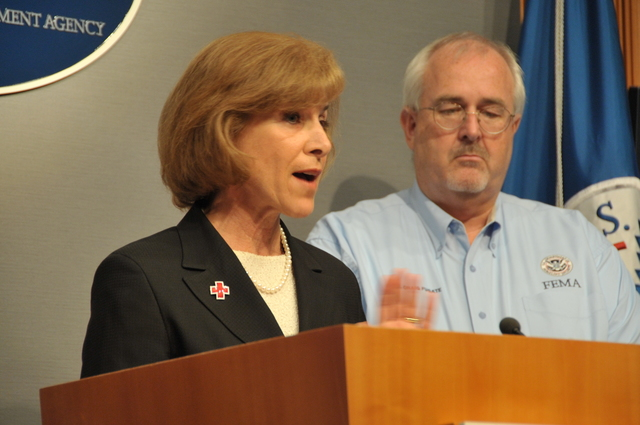 Hurricane/Tropical Storm - D. C. , August 26, 2011 -- CEO Gail McGoven(l), W. Craig Fugate, FEMA Administrator(r) discussed the need for all citizens to be prepared at a press conference in the FEMA HQ. Photo by: Scott Moir'
