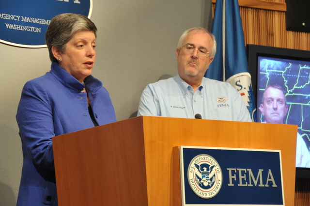 Hurricane/Tropical Storm - D. C. , August 26, 2011 -- DHS Sec, Janet Napolitano along with Red Cross President and CEO Gail McGoven(l), W. Craig Fugate, FEMA Administrator(r)and via video, NOAA National Hurricane Center Director,Bill  Read discussed the need for all citizens to be prepared at a press conference in the FEMA HQ.  Photo by: Scott Moir'
