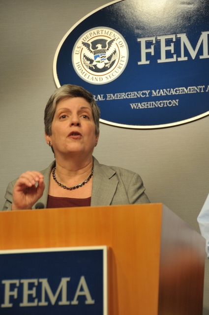 Hurricane/Tropical Storm - D. C. , August 27, 2011 -- DHS Sec, Janet Napolitano (pictured) along with Red Cross President and CEO Gail McGoven, W. Craig Fugate, FEMA Administrator(r)and via video, NOAA National Hurricane Center Director,Bill  Read discussed the need for all citizens to be prepared at a press conference in the FEMA HQ. Photo by: Scott Moir'