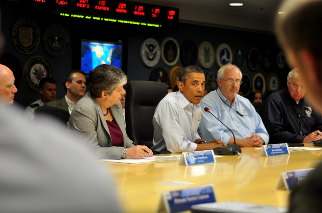 Hurricane/Tropical Storm - Washington, D. C. , August 27, 2011 -- President Barack Obama participates in a federal agency coordination call with Administrator Fugate (right) and Department of Homeland Security Secretary Napolitano (left).
