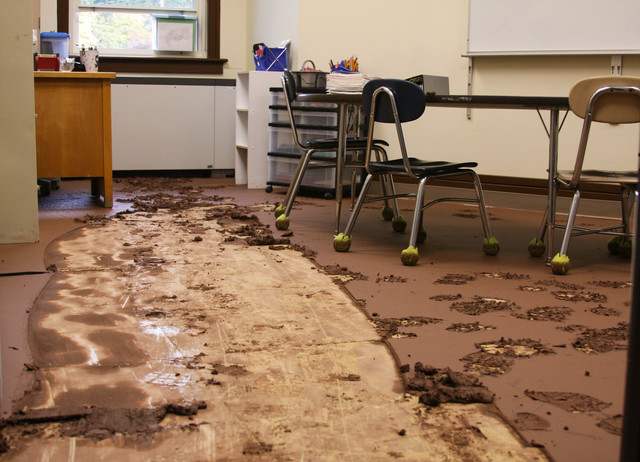Flooding ^ Hurricane/Tropical Storm - Windham, N. Y. , September 1, 2011 --  Classes at WAJ Central School won't open until the rooms are cleaned.  The classrooms had several inches of mud and water from flooding caused by Hurricane Irene.  FEMA Photo/Judith Grafe