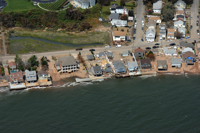 Hurricane/Tropical Storm - East Haven, Conn. , September 1, 2011 -- An aerial view of Cosey Beach shows some damage to houses  due to Hurricane Irene.  Jocelyn Augustino/FEMA News Photo