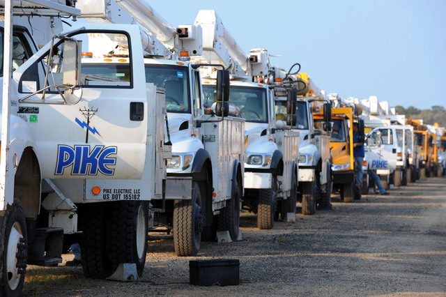 Hurricane/Tropical Storm - Madison, Conn. , September 3, 2011 --Pike Electric, based in North Carolina, arrive for a safety briefing before heading out into neighborhoods to assist in restoring power to communities impacted by Tropical Storm Irene.  Pike employs crew members from around the country to assist in similar situations.  Jocelyn Augustino/FEMA