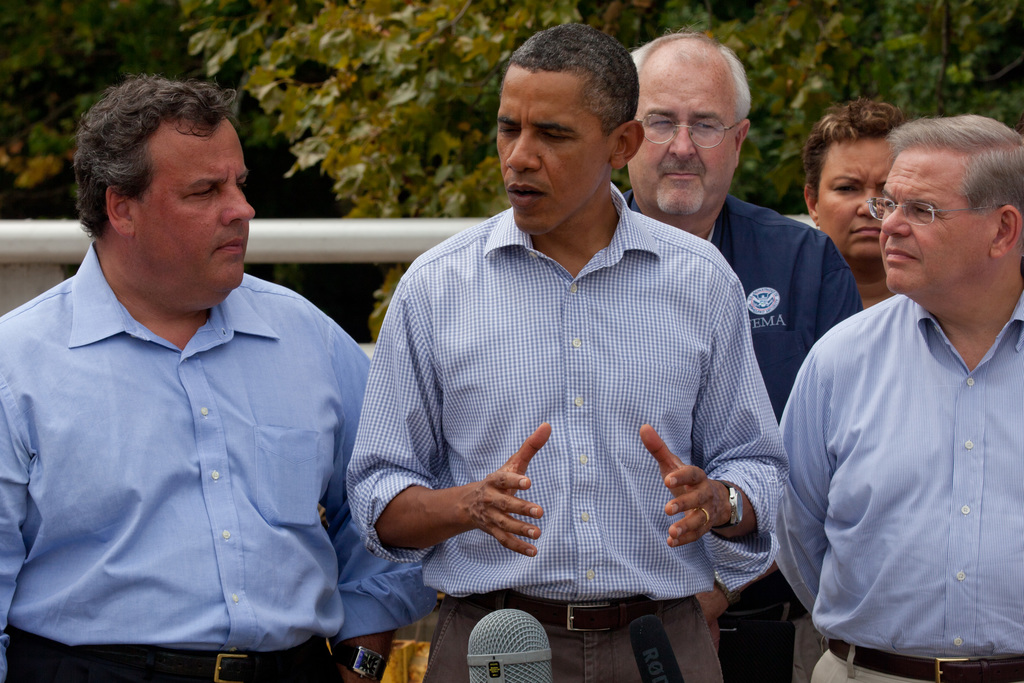Flooding ^ Hurricane/Tropical Storm - Paterson, N. J. , September 4, 2011 --President Obama along with Federal, State and Local officials address the media in Passaic County, New Jersey. Tropical Storm Irene created the worst flooding in the area in more than a century.  Andrea Booher/FEMA