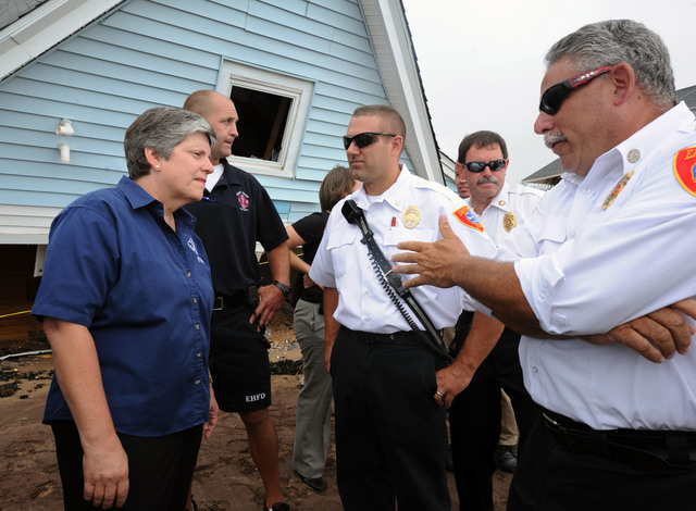 Hurricane/Tropical Storm - East Haven, Conn. , September 5, 2011 --Department of Homeland Security Secretary Janet Napolitano, speaks to first responders during a visit to areas impacted by Tropical Storm Irene.  Napolitano was joined by members of the Congressional delegation as well as State and Local Elected Officials.  President Obama issued a major disaster declaration for the State of Connecticut, allowing federal funds to help communities recover from Tropical Storm Irene.  Jocelyn Augustino/FEMA