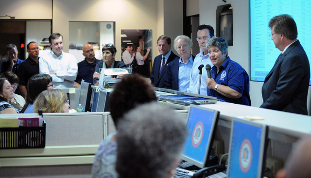Hurricane/Tropical Storm - East Haven, Conn. , September 5, 2011 --Department of Homeland Security Secretary Janet Napolitano, second from right, talks to  employees at the State Emergency Operations Center. Napolitano was joined by members of the Congressional delegation as well as State and Local Elected Officials and toured areas impacted by Tropical Storm Irene.  Jocelyn Augustino/FEMA