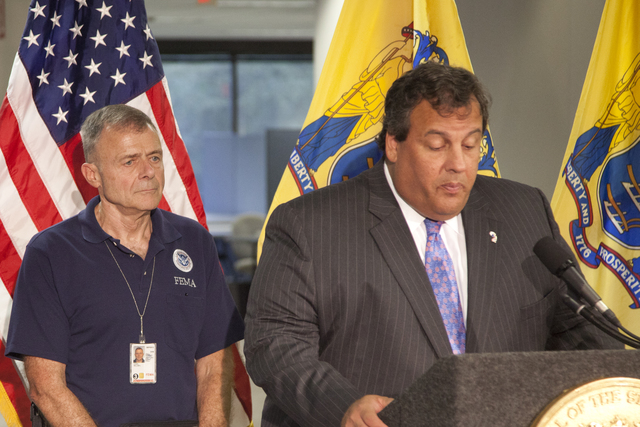 """Flooding ^ Hurricane/Tropical Storm - Neptune, N. J. , September 6, 2011 -- FEMA leadership attends a press conference hosted by New Jersey Governor Christopher James """"Chris"""" Christie at a FEMA Joint Field Office (JFO) in Neptune. William """"Bill"""" Vogel, FEMA Federal Coordinating Officer (FCO), is invited by Govenor Christie to speak at rhe press conference to update the media and the public about the ongoing efforts of FEMA to assist disaster survivors, the state and local governments in their response to flooding and wind damage caused by Hurricane Irene on August 28. Photo by Christopher Mardorf / FEMA."""
