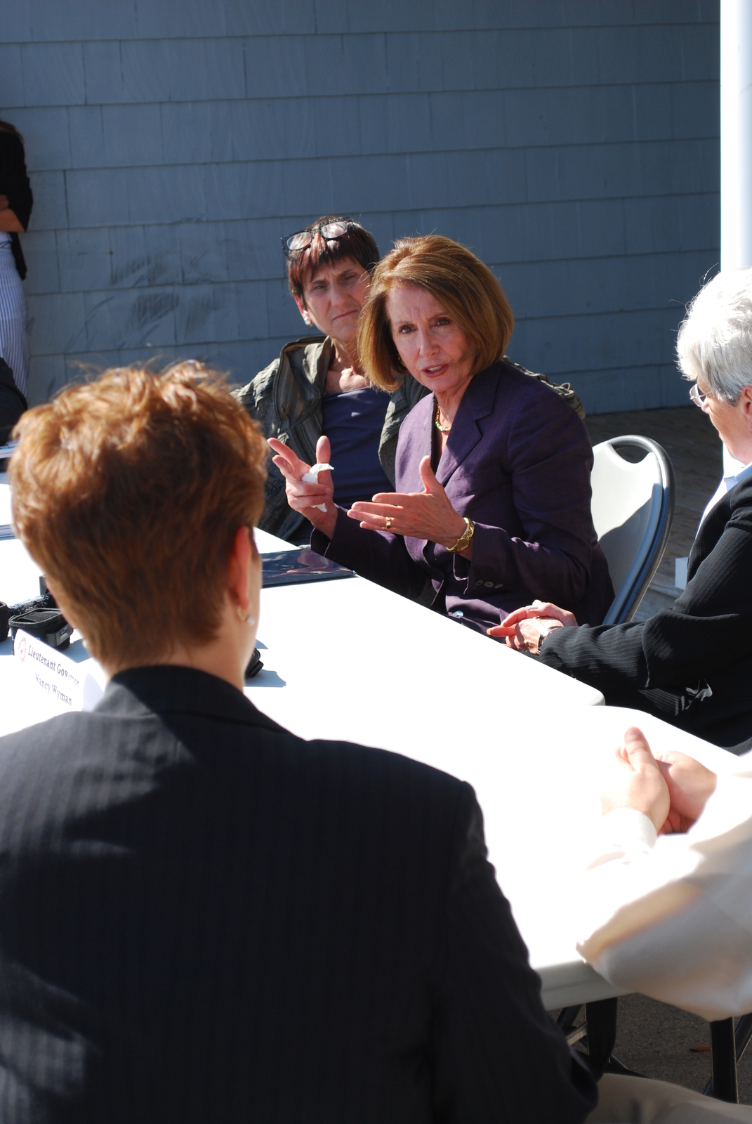 Coastal Storm ^ Flooding ^ Hurricane/Tropical Storm ^ Severe Storm - East Haven, Conn. , September 16, 2011 -- Rep. Nancy Pelosi, House Minority Leader, met with FEMA, State and local officials at the FEMA DRC in East Haven, which is in the district represented by Rosa DeLauro (right of Pelosi). Connecticut FCO Stephen De Blasio spoke extensively to Pelosi in outlining FEMA's recovery efforts.  Photo by Michael Raphael/FEMA