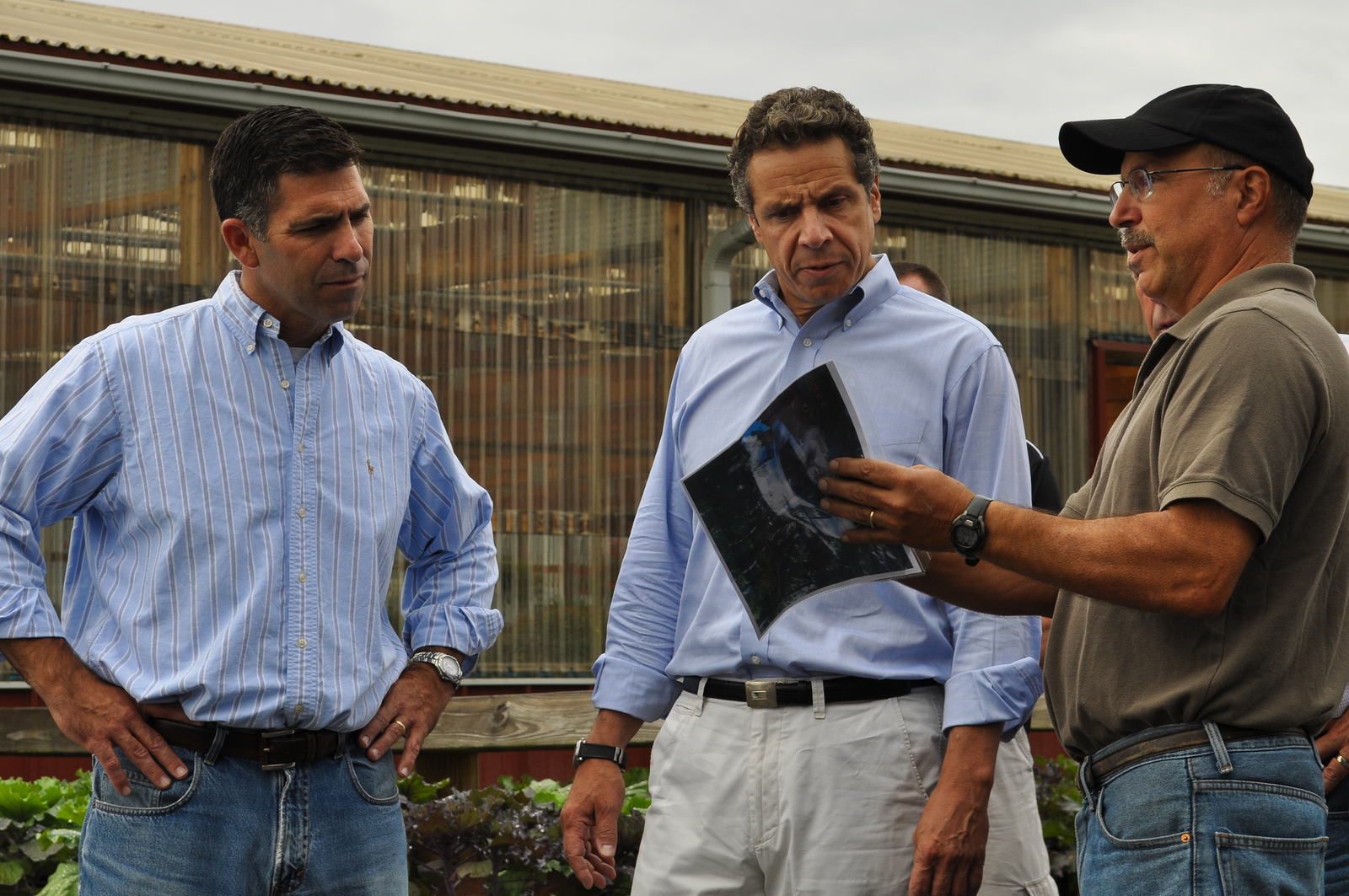 Hurricane/Tropical Storm - New Paltz, N. Y. , September 22, 2011 -- Governor Cuomo tours Wallkill View Farms with Mike Hein (Ulster County Executive), and Peter Ferrante (co-owner of Wallkil View Farms). Photo by Elissa Jun/FEMA