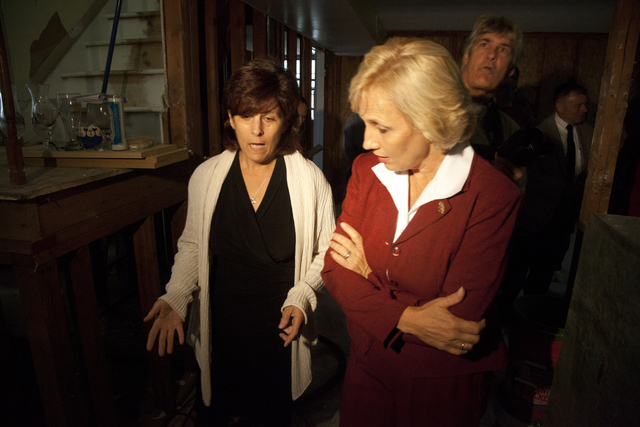 Flooding ^ Hurricane/Tropical Storm - Howell, N. J. , September 28, 2011 -- New Jersey Lieutenant Governor Kim Guadagno speaks with disaster survivor Madeline Nuvello in her flooded home before a press conference in Howell. Guadagno spoke with disaster survivors who suffered damage to their homes as a result of flooding caused by Hurricane Irene on August 28, 2011. FEMA works closely with the state and local governments to make sure that disaster survivors receive the assistance they need and to which they are legally entitled. Photo by Christopher Mardorf /  FEMA.