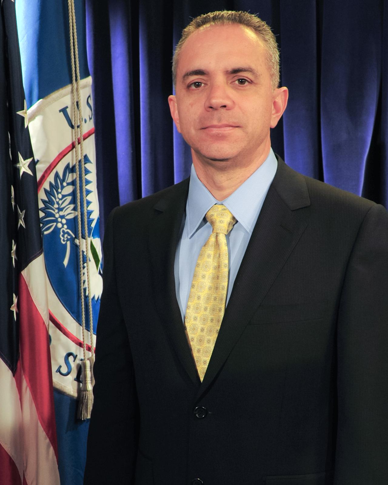 Washington, D. C. , Dec. 9, 2011 -- Michael Apodaca, FEMA's Acting Chief Security Officer in the FEMA Studio. FEMA/Aaron Skolnik