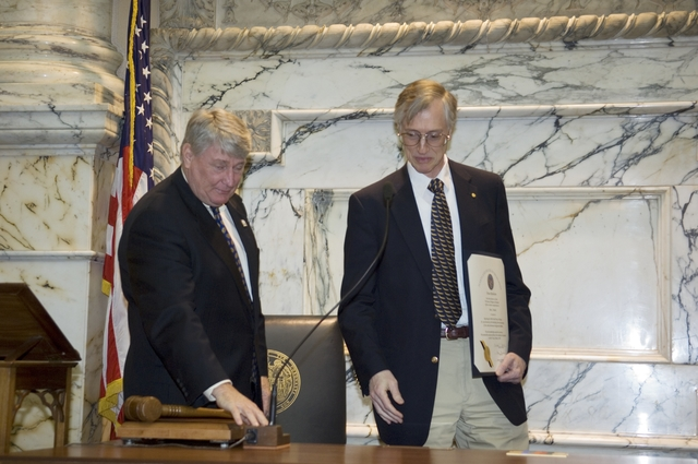 DR. JOHN MATHER RECEIVES AN AWARD FROM THE MARYLAND GENERAL ASSEMBLY