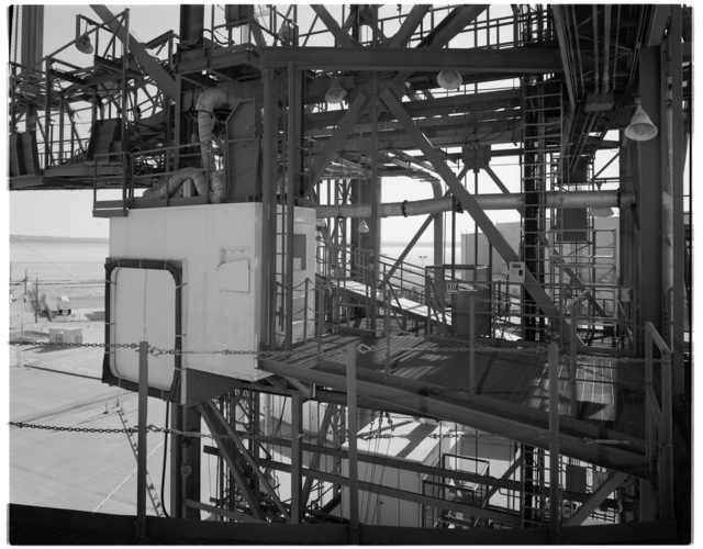 NASA DFRC Mate-Demate Device (MDD) 45 foot Nose Platform, looking southeast, view of Crew Module Access 'White Room'