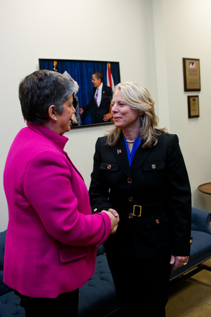 Washington, D. C. , Jan. 19, 2012 -- Department of Homeland Security Secretary Janet Napolitano congratulates Honoree Wendy Freitag. Award recipients were honored for their significant innovation and creativity in working to get their communities ready for the unexpected and embraced the approach of involving all members of their communities in emergency preparedness and response, reaching out to faith-based, tribal, non-profit, private sector and community-based organizations, as well as individual citizens.