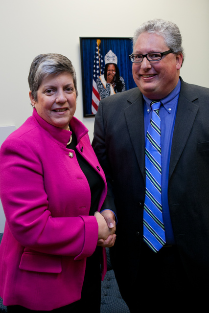 Washington, D. C. , Jan. 19, 2012 -- Department of Homeland Security Secretary Janet Napolitano congratulates Honoree David Maack. Award recipients were honored for their significant innovation and creativity in working to get their communities ready for the unexpected and embraced the approach of involving all members of their communities in emergency preparedness and response, reaching out to faith-based, tribal, non-profit, private sector and community-based organizations, as well as individual citizens.