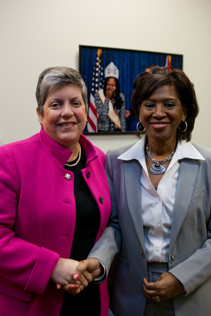 Washington, D. C. , Jan. 19, 2012 -- Department of Homeland Security Secretary Janet Napolitano congratulates Honoree Darlene M. Foote. Award recipients were honored for their significant innovation and creativity in working to get their communities ready for the unexpected and embraced the approach of involving all members of their communities in emergency preparedness and response, reaching out to faith-based, tribal, non-profit, private sector and community-based organizations, as well as individual citizens.