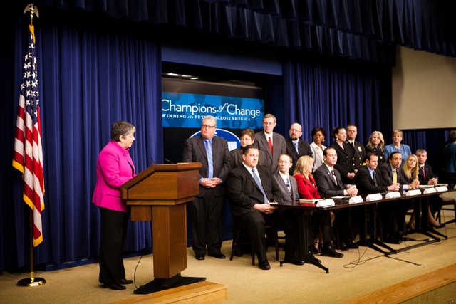 Washington, D. C. , Jan. 19, 2012 -- Department of Homeland Security Secretary Janet Napolitano offers opening remarks congratulating each Honoree during the White House Champions of Change ceremony. Award recipients were honored for their significant innovation and creativity in working to get their communities ready for the unexpected and embraced the approach of involving all members of their communities in emergency preparedness and response, reaching out to faith-based, tribal, non-profit, private sector and community-based organizations, as well as individual citizens.