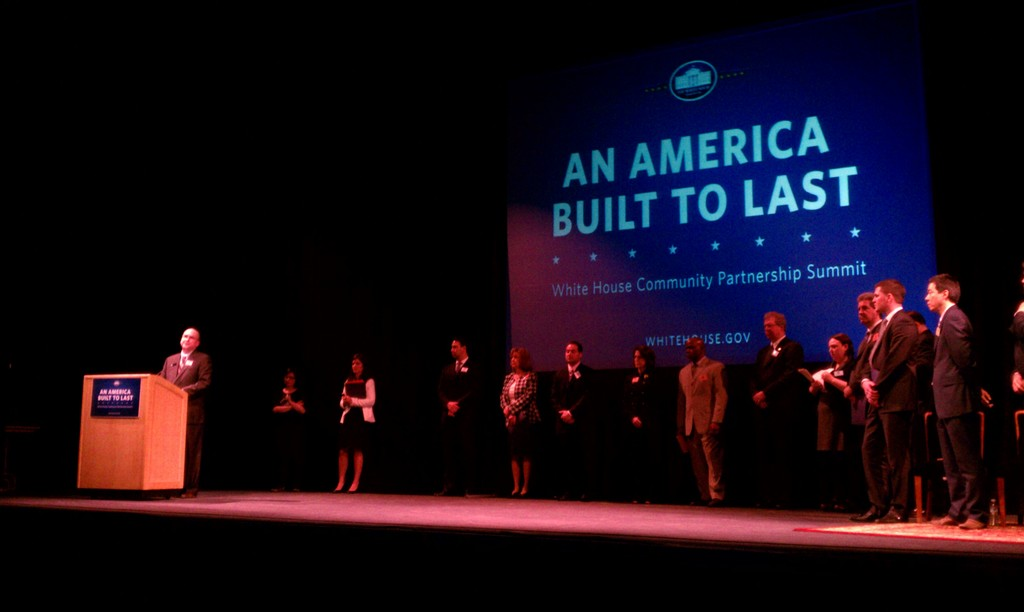 """Philadelphia, Pa. , March 2, 2012 -- FEMA Region III Preparedness Analysis & Planning Officer Nicholas DeJesse (6th from Left) appears on stage with other Federal Agency Leads at the White House's """"An America Built to Last"""" Summit at the University of Pennsylvania."""