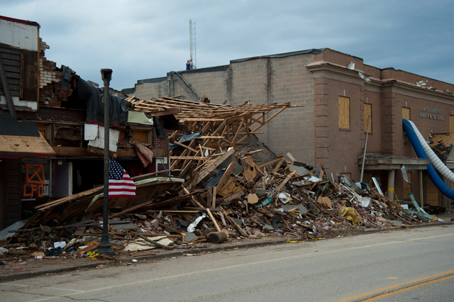 Tornado - West Liberty, Ky. , March 12, 2012 -- The downtown area was heavily damaged during the March 2nd tornado, with many brick buildings completely collapsing.  FEMA and State resources are being deployed to help with recovery efforts. Photo by Tim Burkitt/FEMA