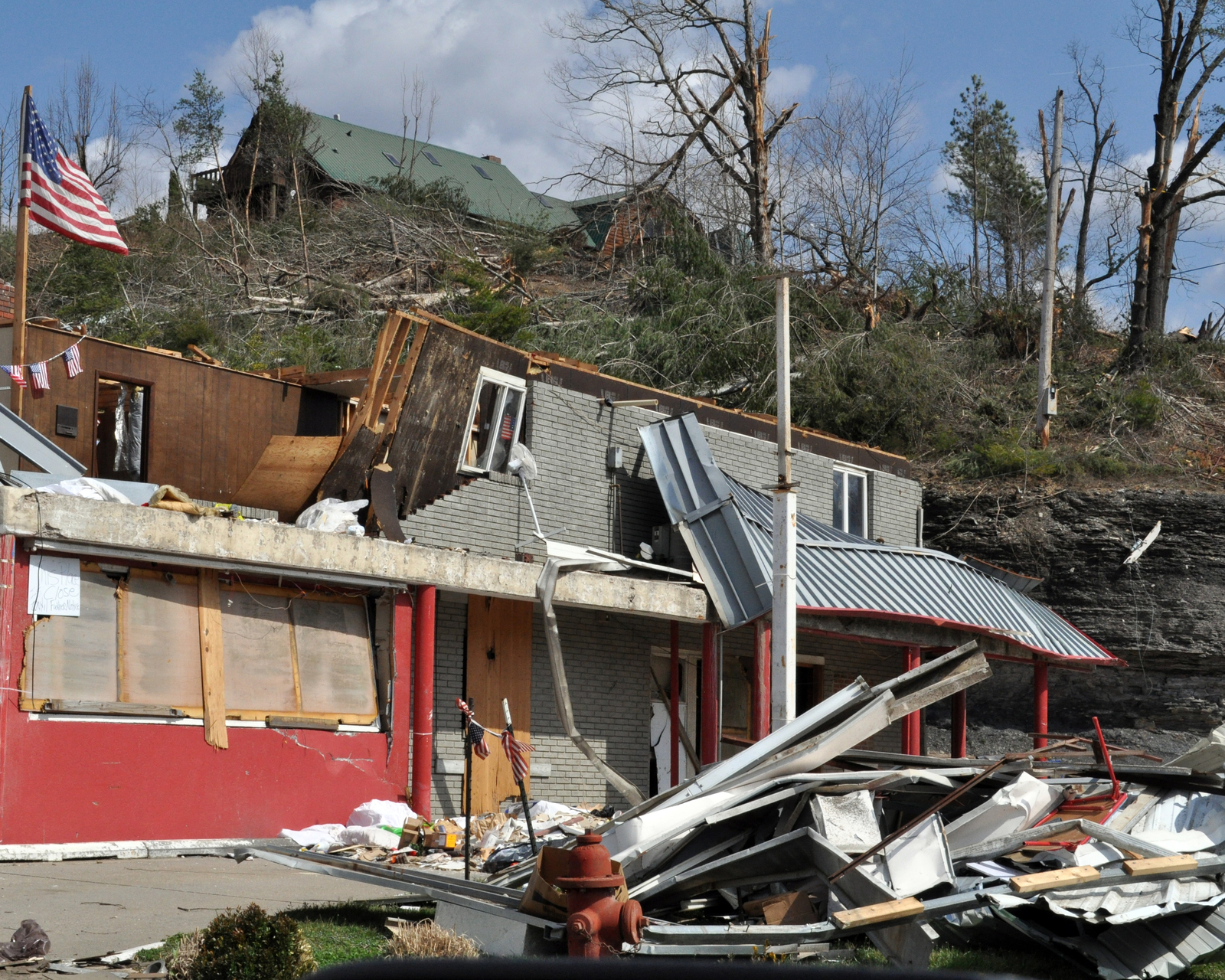 Severe Storm ^ Tornado - Salyersville, Ky. , March 13, 2012 -- Damage to  businesses along the main