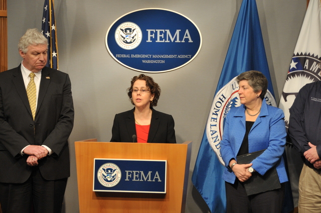 Washington, D. C. , March 13, 2012 --  Cecilia Muñoz, Director of the White House Domestic Policy Council, discusses the new partnership between AmeriCorps' Corporation for National and Community Service and FEMA.  The new partnership is designed to strengthen the nation's ability to respond to and recover from disasters while expanding career opportunities for young people. Photo by Brittany Trotter/FEMA
