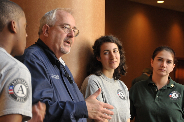 Washington, D. C. , March 13, 2012 -- FEMA Administrator Craig Fugate speaks with AmeriCorps volunteers following the announcement of FEMA Corps, a partnership between Corporation for National and Community Service and FEMA. The new partnership is designed to strengthen the nation's ability to respond to and recover from disasters while expanding career opportunities for young people. Photo by Brittany Trotter/FEMA