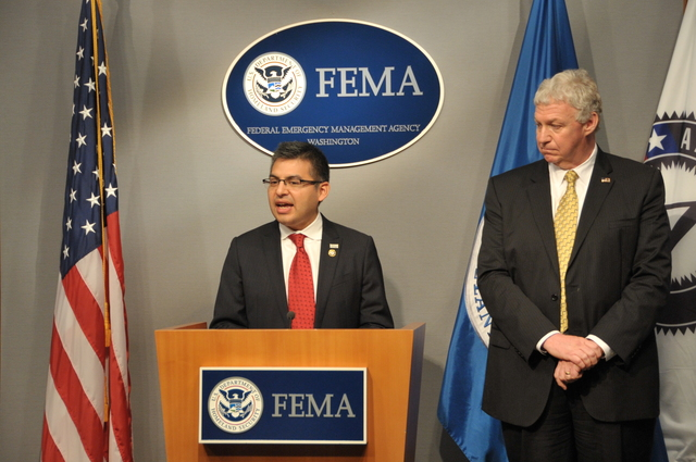 Washington, D. C. , March 13, 2012 -- Robert Velasco, Acting CEO of the Corporation for National and Community Service, discusses the new partnership with FEMA. The partnership is designed to strengthen the nation's ability to respond to and recover from disasters while expanding career opportunities for young people. Photo by Brittany Trotter/FEMA