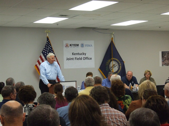 Tornado - Frankfort, Ky. , April 17, 2012 -- Richard Serino, FEMA Deputy Administrator, addressing Regional Offices, JFOs, and HQ by webcast from the Kentucky JFO during town hall meeting. Cheryl Reyes /FEMA