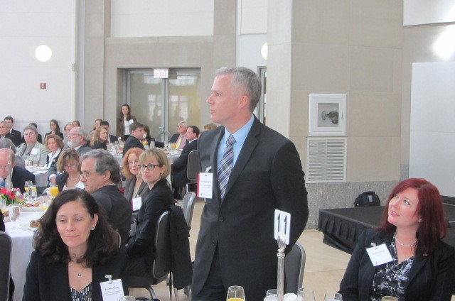 Washington, D. C. , May 9, 2012 -- Dan Stoneking, Director of Private Sector Division, receives recognition for his nomination for the Samuel J. Heyman Service to America Medal. FEMA Photo
