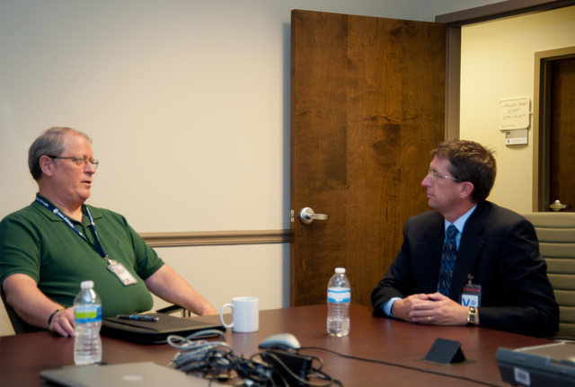 Emergency Planning and Security ^ Hurricane/Tropical Storm - Atlanta, Ga. , May 22, 2012 -- Mike Bolch of the FEMA Federal Coordinating Officer cadre meets with Dr. Richard Knabb, the new Director of the National Hurricane Center. Cooperation and information exchange is vital for NOAA and FEMA during Hurricane season. FEMA/Tim Burkitt