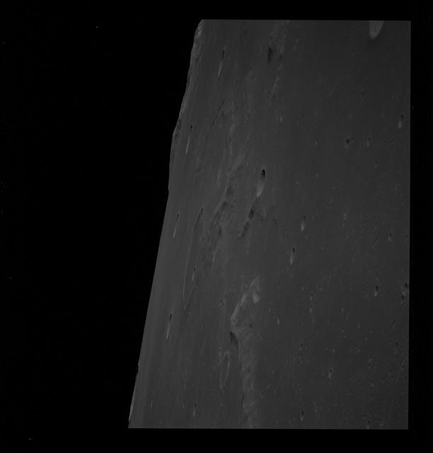 AS10-31-4598 - Apollo 10 - Apollo 10 Mission image - North edge of Sea of Tranquility