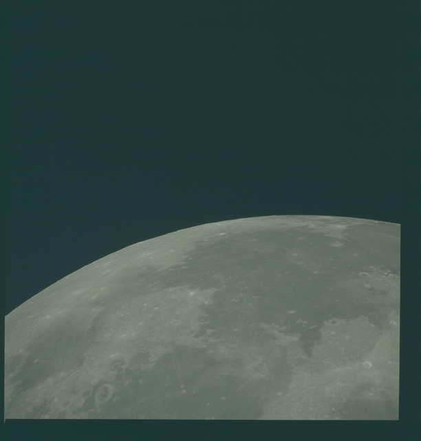 AS13-60-8672 - Apollo 13 - Apollo 13 Mission image  - View of the Sea of Tranquility, the Sea of Serenity, and Crater Proclus