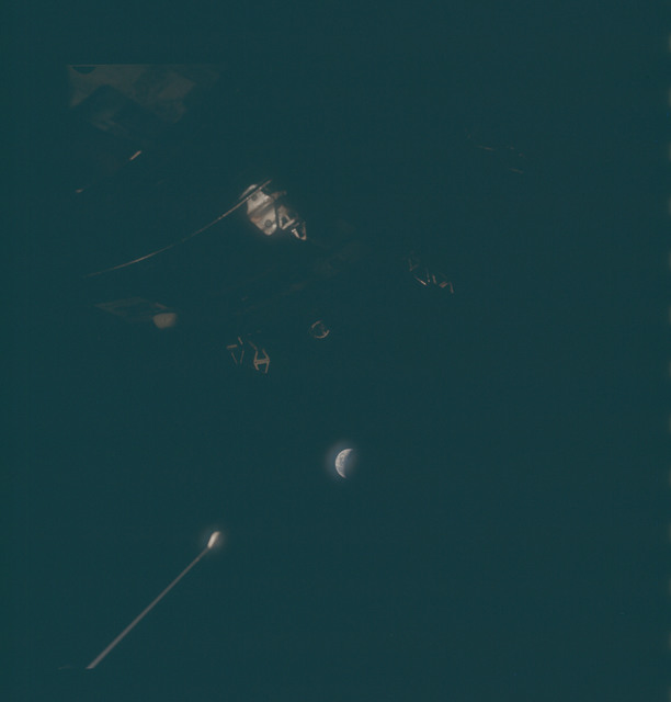 AS13-62-8960 - Apollo 13 - Apollo 13 Mission image  - Dark view possibly of exterior of spacecraft