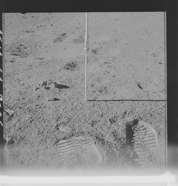 AS14-64-9046 - Apollo 14 - Apollo 14 Mission image - Pan of the Core Tube taken on the Surface during the Lunar Surface EVA for the Apollo 14 mission.