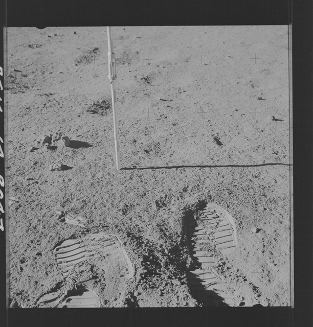 AS14-64-9047 - Apollo 14 - Apollo 14 Mission image - Pan of the Core Tube taken on the Surface during the Lunar Surface EVA for the Apollo 14 mission.