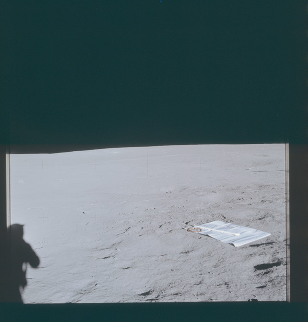 AS14-66-9238 - Apollo 14 - Apollo 14 Mission image - View of the Lunar Surface towards the Horizon with the Solar Wind Panel facing northwest in FOV.
