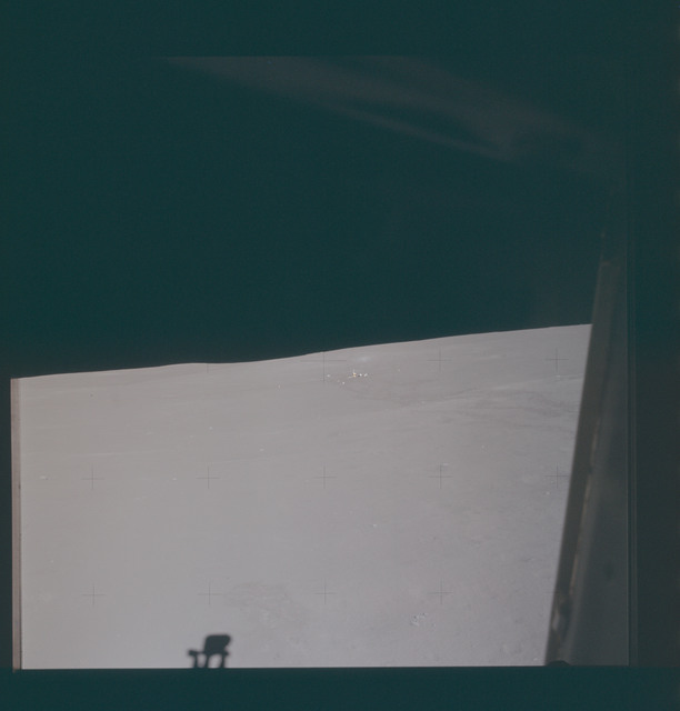 AS14-66-9333 - Apollo 14 - Apollo 14 Mission image - View from the Lunar Module window of the ALSEP Station.