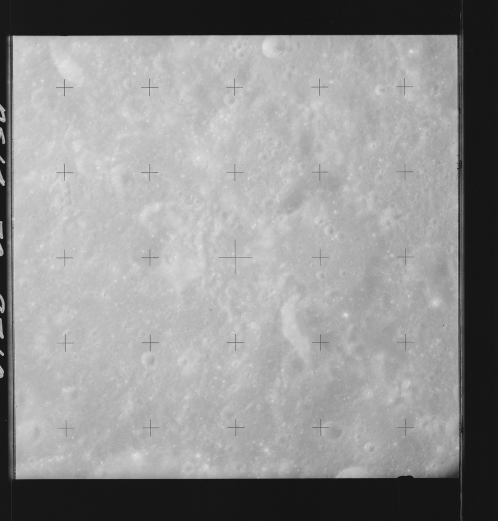 AS14-70-9710 - Apollo 14 - Apollo 14 Mission image - View of the lunar surface west of the Brunner Crater and south of the Smythii Sea.