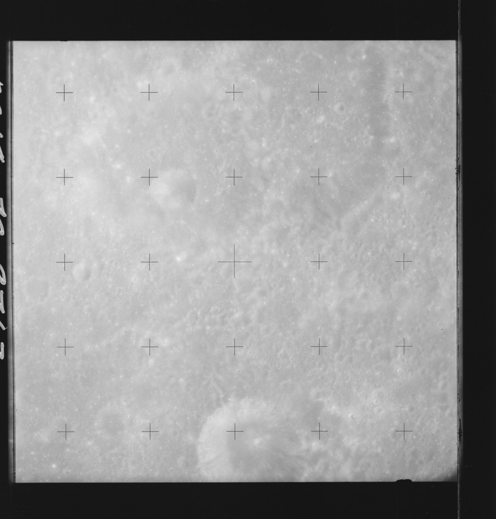 AS14-70-9713 - Apollo 14 - Apollo 14 Mission image - View of the lunar surface west of the Ansgarius Crater and south of the Smythii Sea.