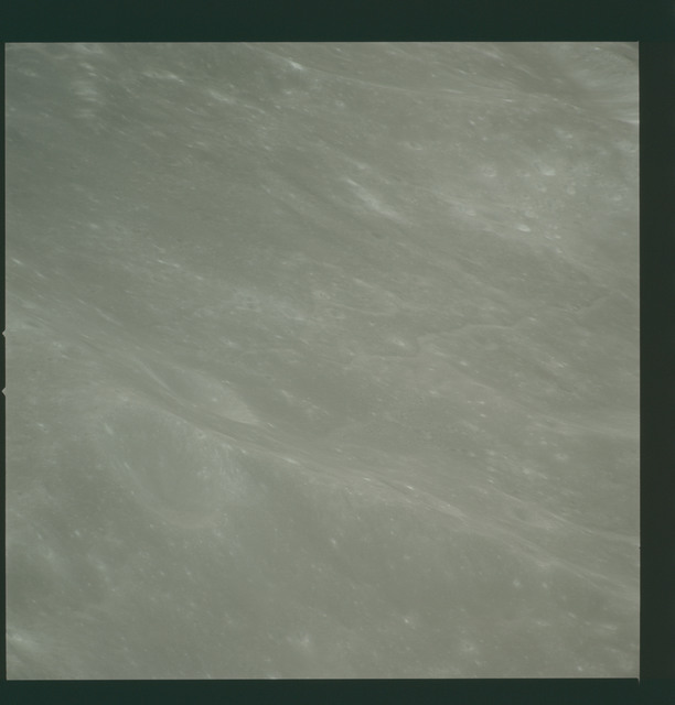 AS14-72-10008 - Apollo 14 - Apollo 14 Mission image - View of the Mare Smythii area to the northwest from the north edge of the Hirayama Crater.
