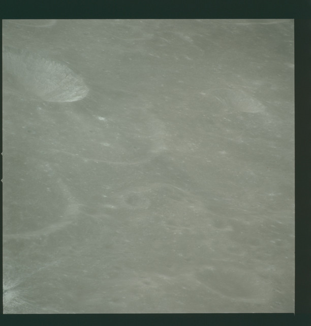 AS14-72-10013 - Apollo 14 - Apollo 14 Mission image - View of the Mare Smythii area to the north from the northwest edge of the Hirayama Crater.